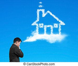 bleu, sur, pensée, maison, ciel, forme, homme affaires, nuage