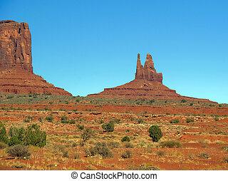 bleu, sur, utah, vallée monument, cieux
