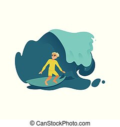 bleu, surfboard., sien, mâle jeune, surfeur, mer, océan, équitation, vague, ou