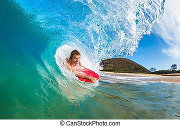 bleu, surfer, pensionnaire, boogie, océan, surprenant, vague