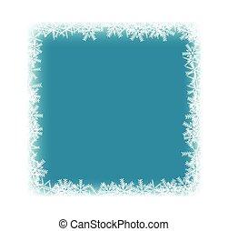 bleu, surgelé, cadre, flocons neige