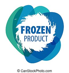 bleu, surgelé, vecteur, produits, logo