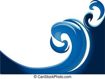 bleu, swirly, vagues