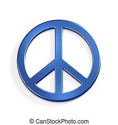 bleu, symbol.3d, paix, render, illustration