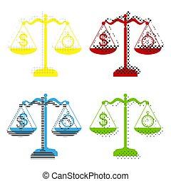 bleu, symbole, dollar, jaune, vector., chronomètre, balances., rouges