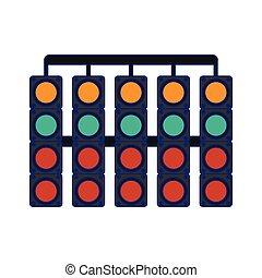 bleu, symbole, lignes, lumières, trafic, courses