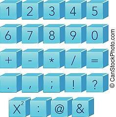 bleu, symbole, nombre, math