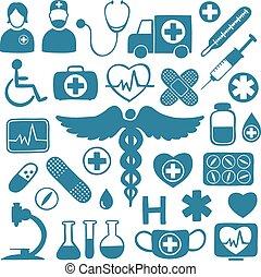 bleu, symboles, blanc, healthcare, icônes