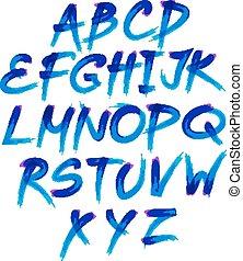 bleu, symbols., alphabet, aquarelle, vecteur, nombres, manuscrit