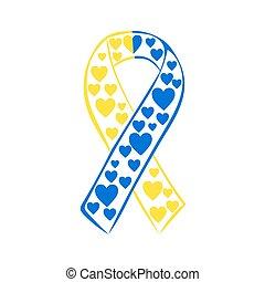 bleu, syndrome, jaune, bas, mondiale, jour, ruban