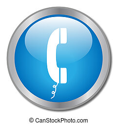 bleu, téléphone, image, button., icône