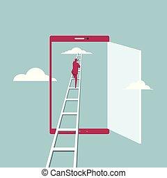 bleu, téléphone., montées, ladder., isolé, arrière-plan., par, aller, homme affaires, nuage