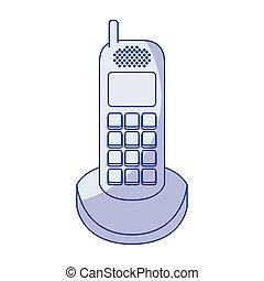 bleu, téléphone, silhouette, ombrager, sans fil