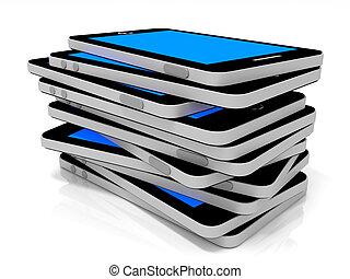 bleu, téléphones, screen., intelligent, pile