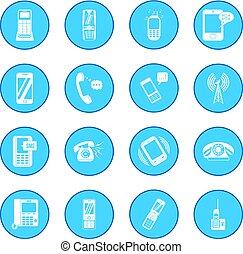 bleu, téléphonez icône