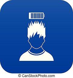 bleu, tête, batterie, sur, bas, homme numérique, icône
