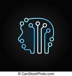 bleu, tête, cerveau humain, vecteur, planche, circuit, icône