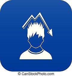 bleu, tête, graphique, sur, numérique, tomber, homme, rouges, icône