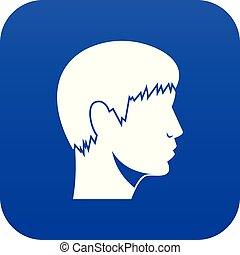 bleu, tête, homme numérique, icône