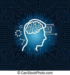 bleu, tête, humain, circuit, carte mère, sur, cerveau, fond, numérique, icône
