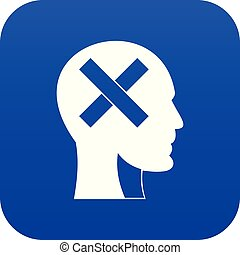 bleu, tête, intérieur, croix, humain, numérique, icône