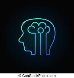 bleu, tête, intelligence, -, artificiel, cerveau, vecteur, humain, icône