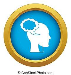 bleu, tête, isolé, parole, humain, bulle, icône