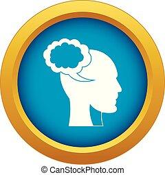 bleu, tête, isolé, vecteur, parole, humain, bulle, icône