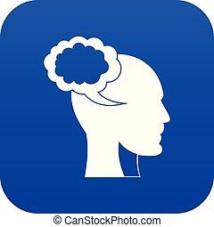 bleu, tête, parole, humain, numérique, bulle, icône