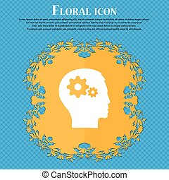 bleu, tête plate, engrenage, résumé, text., vecteur, conception, fond, floral, endroit, icon., pictograph, ton, icône