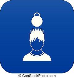 bleu, tête, poids, sur, homme numérique, icône