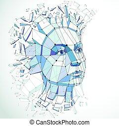 bleu, tête, séparément, créé, imagination., intelligence, éclats, exploser, poly, figure, idées, vecteur, bas, automne, allégorie, portrait, mesh., lignes, pensées, 3d