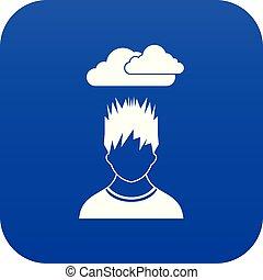bleu, tête, sien, déprimé, sur, sombre, homme numérique, nuage, icône