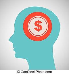 bleu, tête, silhouette, argent, dollar, conception, icône