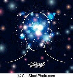 bleu, tête, silhouette, fond, coloré, intelligence, sur, artificiel, humain, sombre, transparence, affiche, scintillements