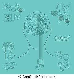 bleu, tête, silhouette, humain, intelligence, sur, hybride, artificiel, cerveau, fond, lumière, vue frontale