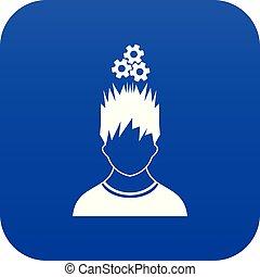 bleu, tête, sur, métal, engrenages, homme numérique, icône