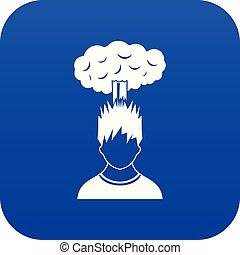 bleu, tête, sur, nuage, homme numérique, rouges, icône