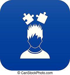 bleu, tête, sur, puzzles, numérique, icône, homme