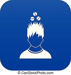 bleu, tête, sur, tablettes, numérique, icône, homme
