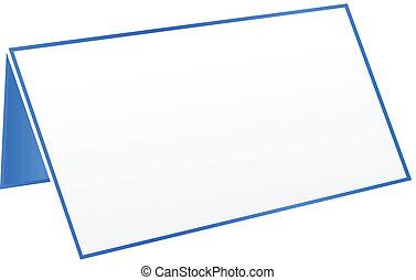 bleu, table, étiquette, vide