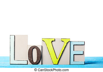 bleu, table., amour, mot