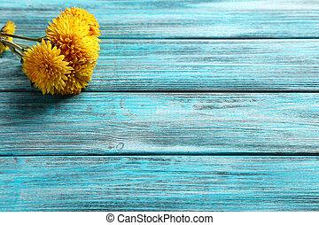 bleu, table bois, chrysanthème