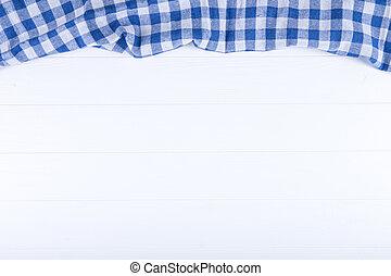 bleu, table bois, fond, tissu