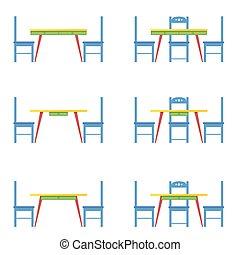 bleu, table, chaise, vecteur, illustration