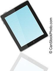 bleu, tablette, écran, pc, vecteur, noir