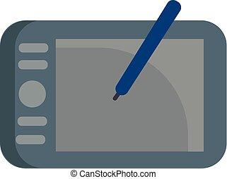 bleu, tablette graphique, gris, illustration, stylo, vecteur, fond, blanc