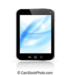 bleu, tablette, lumière, résumé, pc, fond, exposer