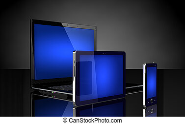 bleu, tablette, mobile, ordinateur portable, écrans, téléphone, noir