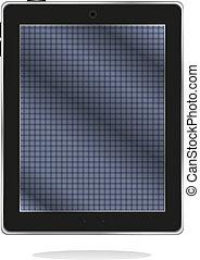 bleu, tablette, résumé, pc, noir, écran